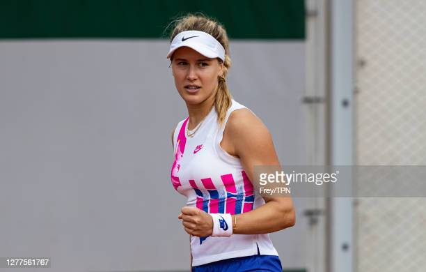 Eugenie Bouchard of Canada celebrates her victory over Daria Gavrilova of Australia in the second round of the women's singles at Roland Garros on...