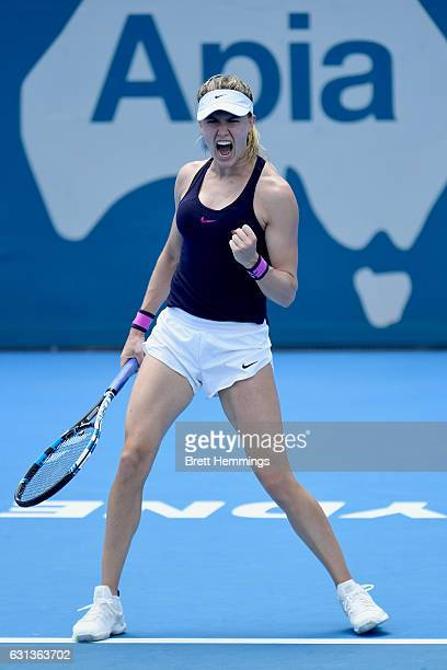 Eugenie Bouchard of Canada celebrates victory in her second round match against Dominika Cibulkova of Slovakia during day three of the 2017 Sydney...