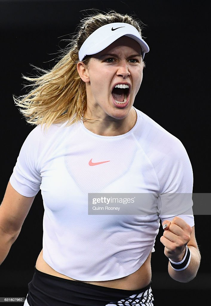 Eugenie Bouchard of Canada celebrates winning a point in her first round match against Louisa Chirico of the USA on day one of the 2017 Australian Open at Melbourne Park on January 16, 2017 in Melbourne, Australia.