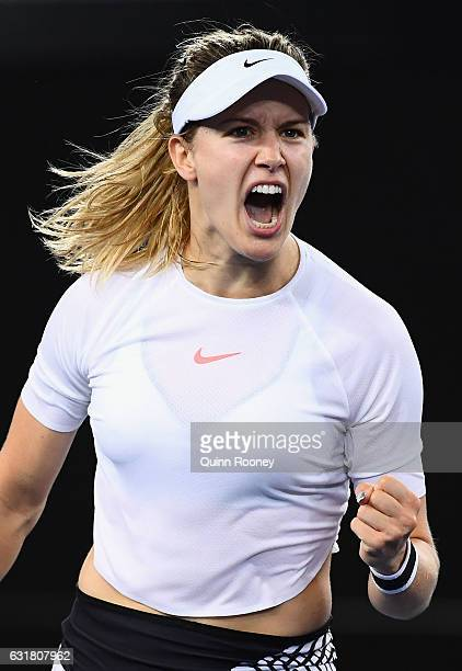 Eugenie Bouchard of Canada celebrates winning a point in her first round match against Louisa Chirico of the USA on day one of the 2017 Australian...