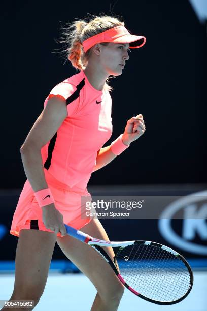 Eugenie Bouchard of Canada celebrates winning a point in her first round match against Oceane Dodin of France on day two of the 2018 Australian Open...