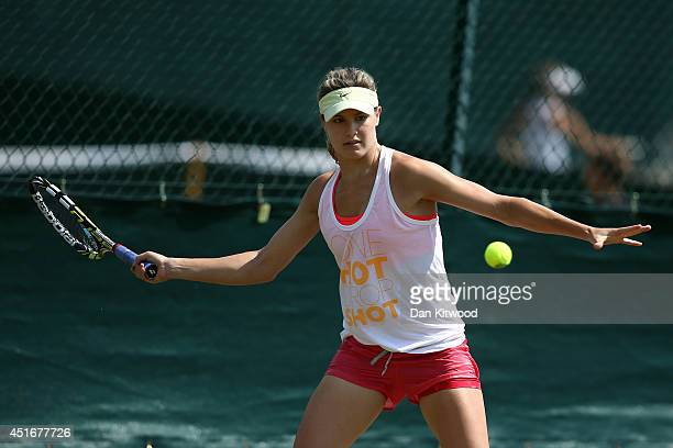Eugenie Bouchard of Canada during a practice session on day eleven of the Wimbledon Lawn Tennis Championships at the All England Lawn Tennis and...