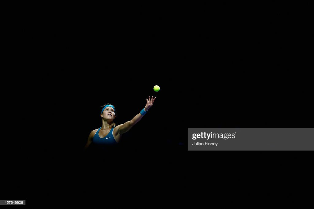 Eugenie Bouchard of Canada in action against Ana Ivanovic of Serbia during day three of the BNP Paribas WTA Finals tennis at the Singapore Sports Hub on October 22, 2014 in Singapore.
