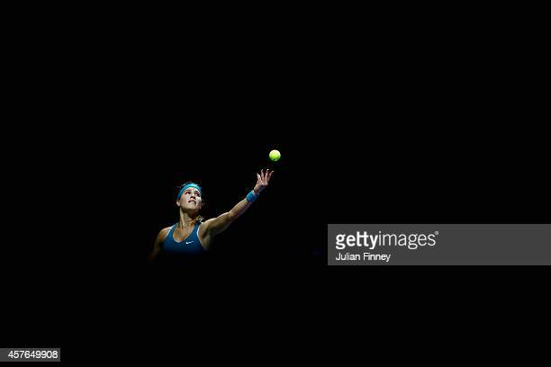 Eugenie Bouchard of Canada in action against Ana Ivanovic of Serbia during day three of the BNP Paribas WTA Finals tennis at the Singapore Sports Hub...