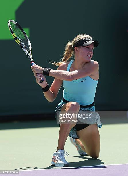 Eugenie Bouchard of Canada in action against Elina Svitolina of Ukraine during their second round match during day 5 at the Sony Open at Crandon Park...