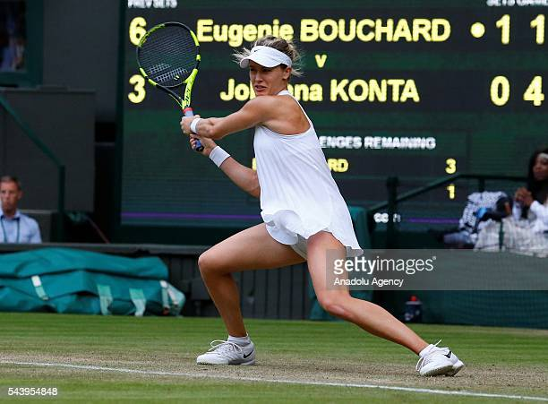Eugenie Bouchard of Canada in action against Johanna Konta of Great Britain in the women's singles on day four of the 2016 Wimbledon Championships at...
