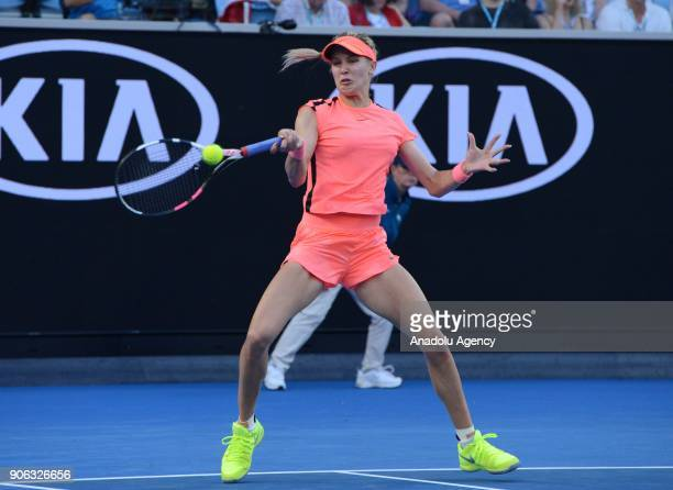 Eugenie Bouchard of Canada in action against Simona Halep of Romania during the fourth day of 2018 Australia Open at Melbourne Park in Melbourne...