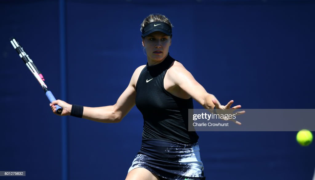 Eugenie Bouchard of Canada in action during her first round match against Barbara Strycova of Czech Republic during day two of the Aegon International Eastbourne on June 26, 2017 in Eastbourne, England.