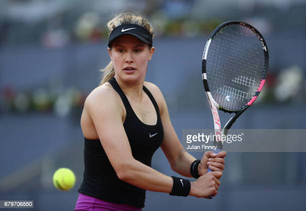 Eugenie Bouchard of Canada in action in her match against Alize Cornet of France during day one of the Mutua Madrid Open tennis at La Caja Magica on...