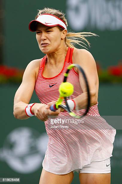 Eugenie Bouchard of Canada in action in her match against Timea Bacsinszky of Switzerland during day eight of the BNP Paribas Open at Indian Wells...
