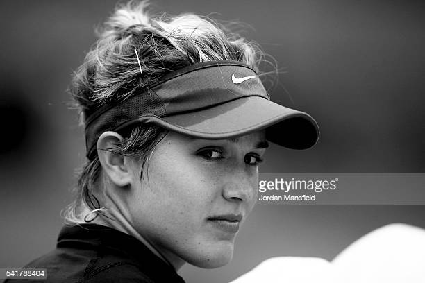 Eugenie Bouchard of Canada looks on during her first round match against Varvara Lepchenko of the USA during day one of the Aegon International at...