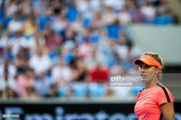 Eugenie Bouchard of Canada looks up to the umpire in her second round match during the 2018 Australian Open on January 18 at Melbourne Park Tennis...