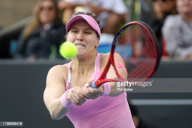 Eugenie Bouchard of Canada plays a backhand during her quarterfinal match against Amanda Anisimova of the USA during day five of the 2020 Women's ASB...