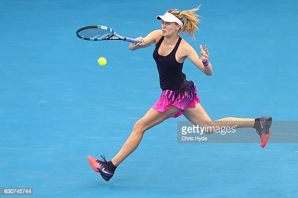 Eugenie Bouchard of Canada plays a backhand in her first round match against Shelby Rogers of the United States during day one of the 2017 Brisbane...