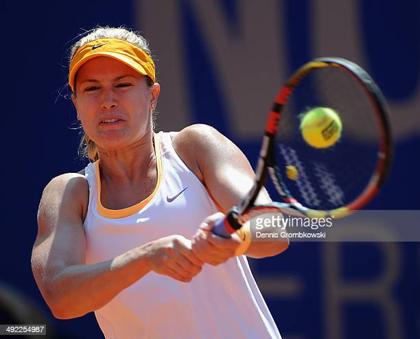 Eugenie Bouchard of Canada plays a backhand in her match against Barbora Zahlavova Strycova of Czech Republic during Day 3 of the Nuernberger...