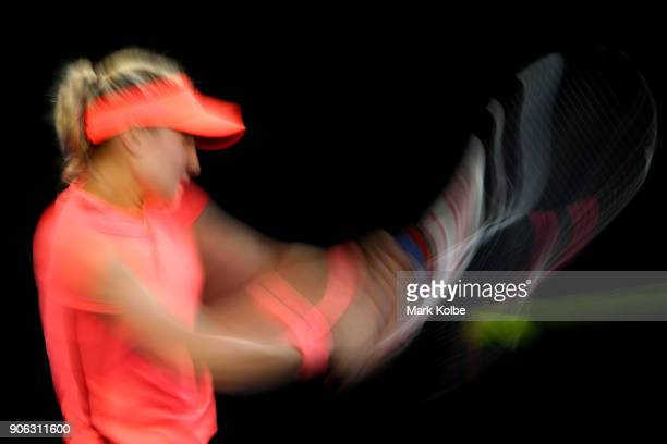 Eugenie Bouchard of Canada plays a backhand in her second round match against Simona Halep of Romania on day four of the 2018 Australian Open at...
