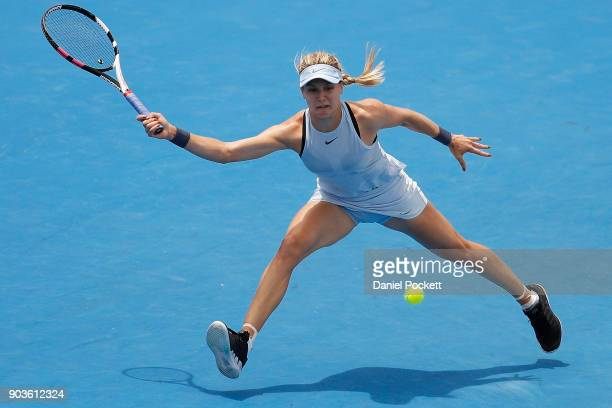 Eugenie Bouchard of Canada plays a forehand against Destanee Aiava of Australia during day three of the 2018 Kooyong Classic at Kooyong on January 11...