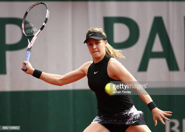 Eugenie Bouchard of Canada plays a forehand during the ladies singles first round match against Renzo Olivo of Argentina day three of the 2017 French...