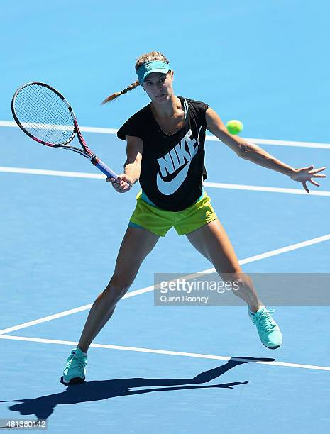 Eugenie Bouchard of Canada plays a forehand volley during a practice session ahead of the 2015 Australian Open at Melbourne Park on January 12 2015...