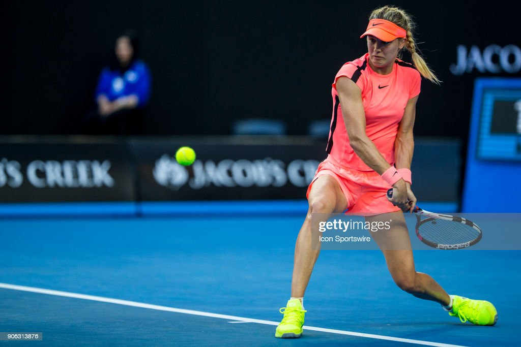 Eugenie Bouchard of Canada plays a shot in her second round match during the 2018 Australian Open on January 18, 2018, at Melbourne Park Tennis Centre in Melbourne, Australia.