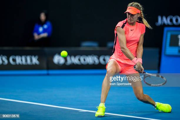 Eugenie Bouchard of Canada plays a shot in her second round match during the 2018 Australian Open on January 18 at Melbourne Park Tennis Centre in...