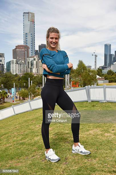 Eugenie Bouchard of Canada poses at the Canadian Club Racquet Club at Birrarung Marr during day two of the 2016 Australian Open at Melbourne Park on...