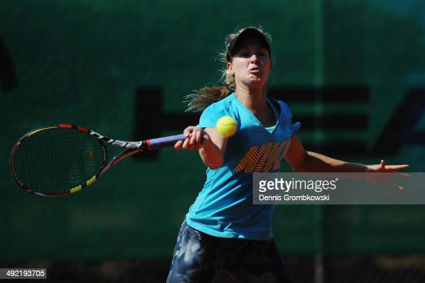 Eugenie Bouchard of Canada practices during a training session on Day 3 of the Nuernberger Versicherungscup on May 19 2014 in Nuremberg Germany