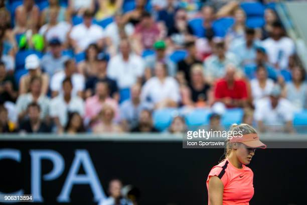 Eugenie Bouchard of Canada prepares to serve in her second round match during the 2018 Australian Open on January 18 at Melbourne Park Tennis Centre...