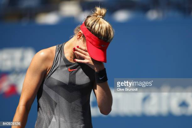 Eugenie Bouchard of Canada reacts against Evgeniya Rodina of Russia during their first round Women's Singles match on Day Three of the 2017 US Open...