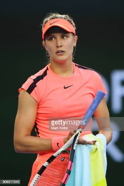 Eugenie Bouchard of Canada reacts in her second round match against Simona Halep of Romania on day four of the 2018 Australian Open at Melbourne Park...