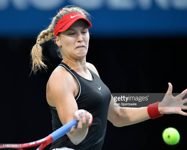 Eugenie Bouchard of Canada returns a ball hit by Bianca Andreescu of Canada during their Rogers Cup Womens tournament match on August 6 2019 at Aviva...