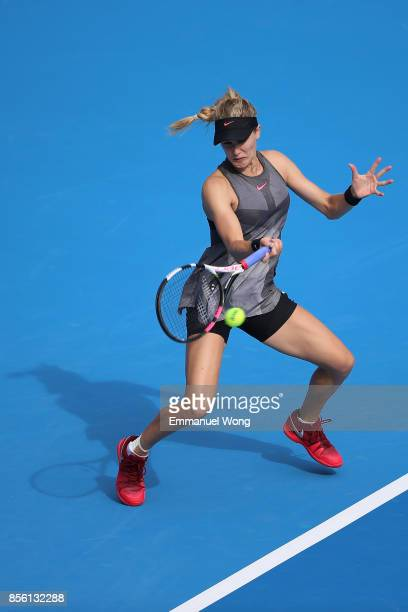 Eugenie Bouchard of Canada returns a shot against Magdalena Rybarikova of Slovakia on day two of the 2017 China Open at the China National Tennis...