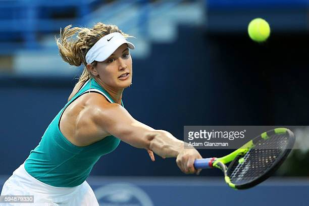 Eugenie Bouchard of Canada returns a shot during her match against Petra Kvitova of the Czech Republic on day 4 of the Connecticut Open at the...