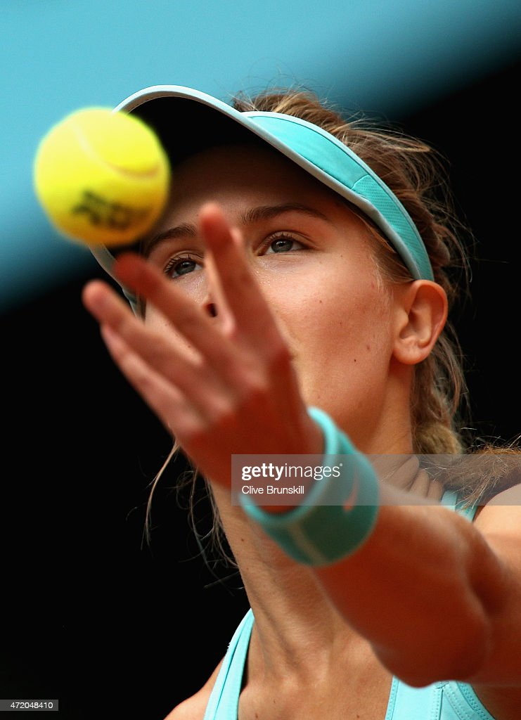 Eugenie Bouchard of Canada serves against Barbora Strycova of the Czech Republic in their first round match during day two of the Mutua Madrid Open tennis tournament at the Caja Magica on May 3, 2015 in Madrid, Spain.