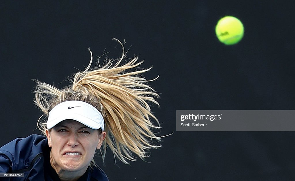 Eugenie Bouchard of Canada serves during a practice session ahead of the 2017 Australian Open at Melbourne Park on January 14, 2017 in Melbourne, Australia.