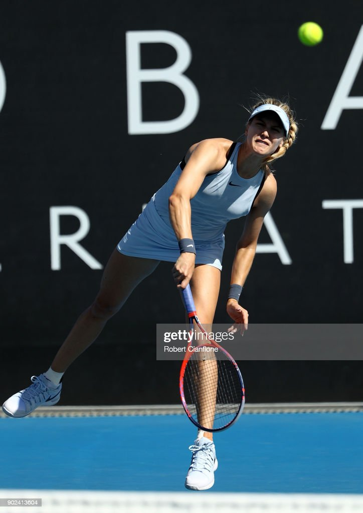Eugenie Bouchard of Canada serves during her singles match against Aryna Sabalenka of Belarus during the 2018 Hobart International at Domain Tennis Centre on January 8, 2018 in Hobart, Australia.
