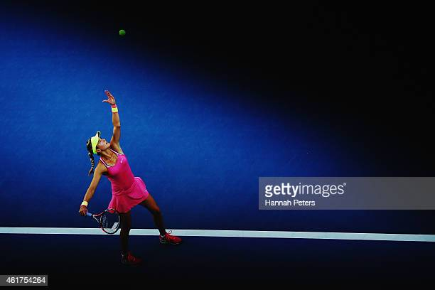 Eugenie Bouchard of Canada serves in her first round match against AnnaLena Friedsam of Germany during day one of the 2015 Australian Open at...