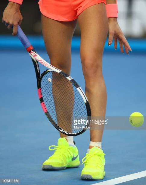 Eugenie Bouchard of Canada serves in her second round match against Simona Halep of Romania on day four of the 2018 Australian Open at Melbourne Park...