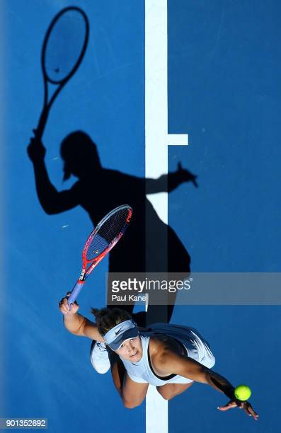Eugenie Bouchard of Canada serves in her singles match against Elise Mertens of Belgium on day seven during the 2018 Hopman Cup at Perth Arena on...