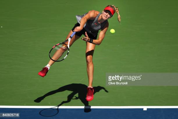 Eugenie Bouchard of Canada serves to Evgeniya Rodina of Russia during their first round Women's Singles match on Day Three of the 2017 US Open at the...