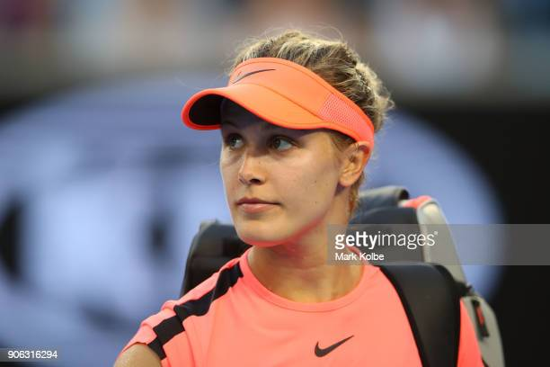Eugenie Bouchard of Canada walks off court after losing her second round match against Simona Halep of Romania on day four of the 2018 Australian...