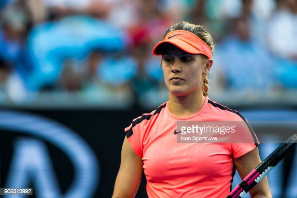 Eugenie Bouchard of Canada walks to her players bench in her second round match during the 2018 Australian Open on January 18 at Melbourne Park...