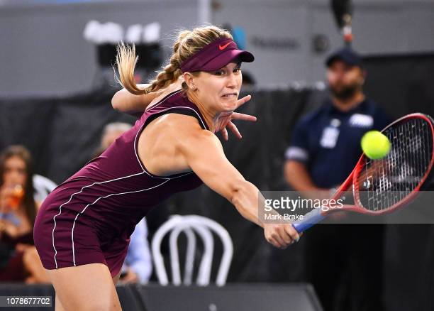 Eugenie Bouchard of Team Cash in action against Victoria Azarenka of Team Leconte during day one of the 2019 World Tennis Challenge at Memorial Drive...