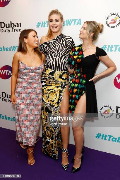 Eugenie Bouchard sister Charlotte Bouchard and cousin Mimi Bouchard attend the Dubai Duty Free WTA Summer Party 2019 at Jumeirah Carlton Tower on...