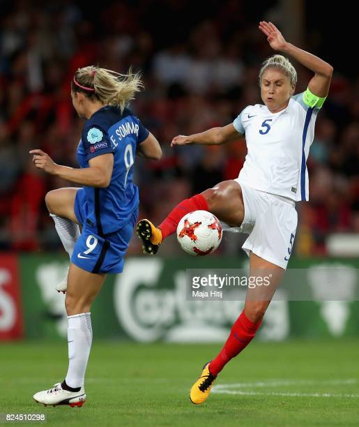 Eugenie Le Sommer of France and Steph Houghton of England battle for possession during the UEFA Women's Euro 2017 Quarter Final match between France...