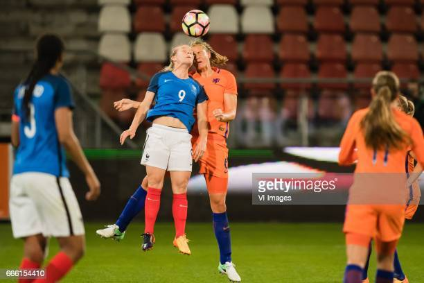 Eugenie Le Sommer of France Anouk Dekker of The Netherlandsduring the friendly match between the women of Netherlands and France at the Galgenwaard...