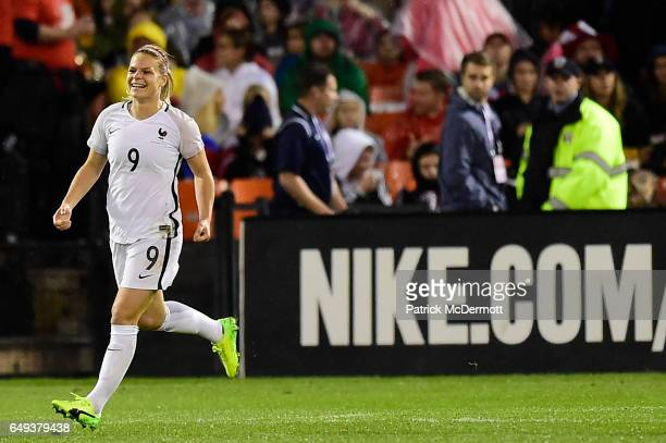 Eugenie Le Sommer of France celebrates after scoring a goal against the United States of America in the first half during the 2017 SheBelieves Cup at...
