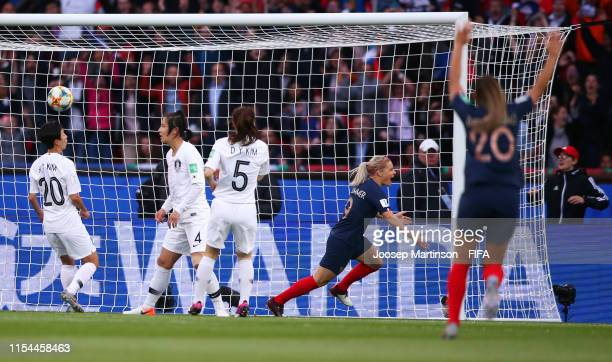 Eugenie Le Sommer of France celebrates after scoring her team's first goal during the 2019 FIFA Women's World Cup France group A match between France...