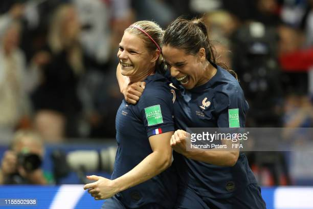 Eugenie Le Sommer of France celebrates after scoring her team's second goal from the penalty spot with Amel Majri of France during the 2019 FIFA...