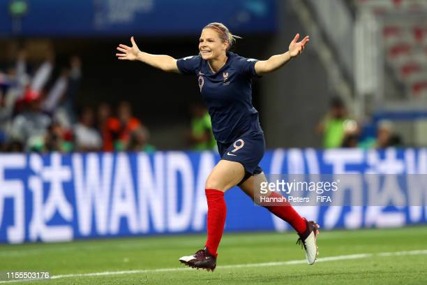 Eugenie Le Sommer of France celebrates after scoring her team's second goal during the 2019 FIFA Women's World Cup France group A match between...